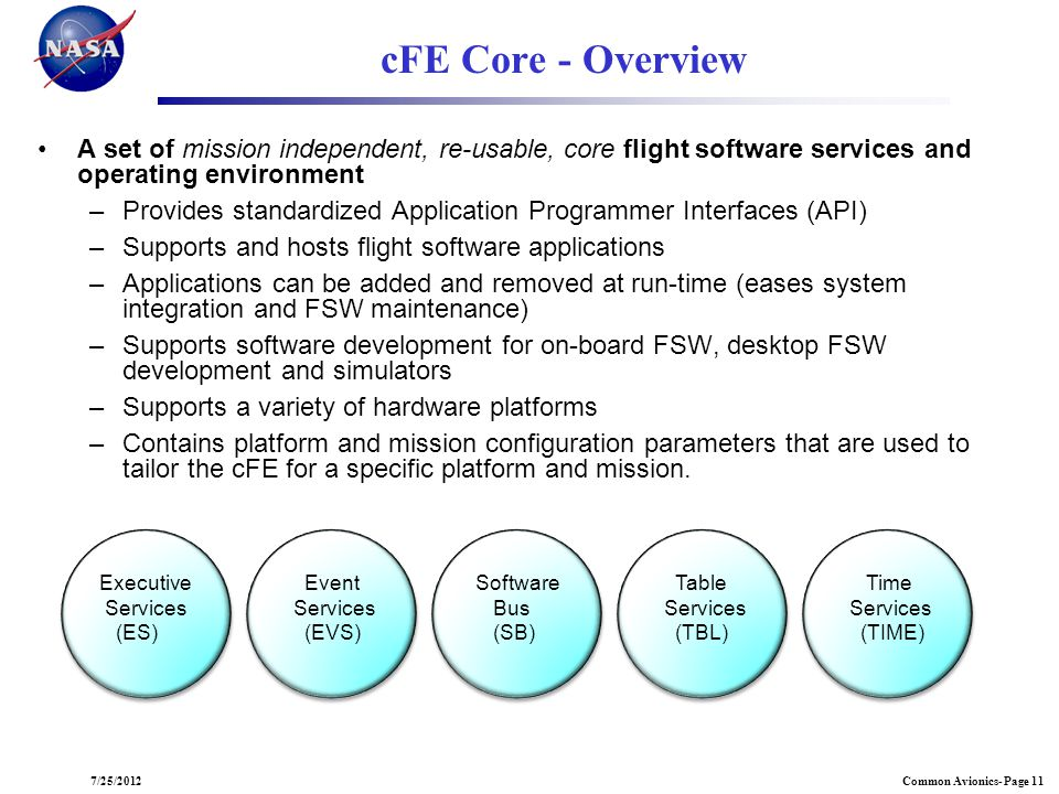 07/25/2012 cFE Core - Overview. A set of mission independent, re-usable, core flight software services and operating environment.