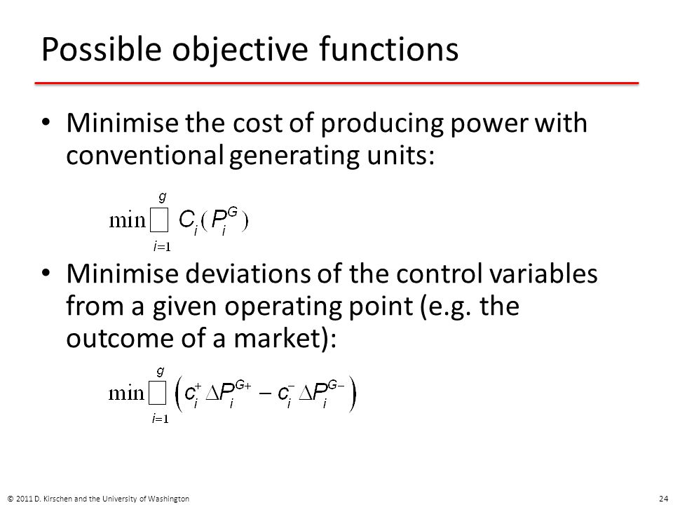 Possible objective functions