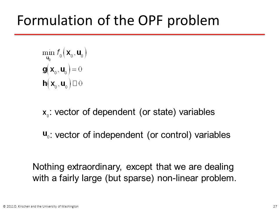 Formulation of the OPF problem