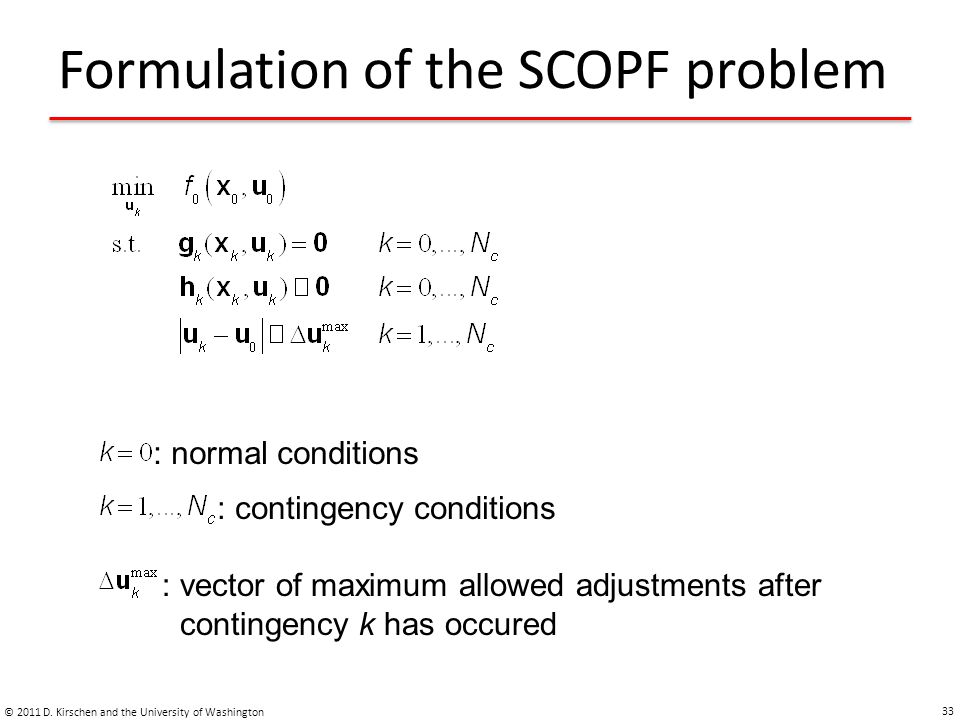 Formulation of the SCOPF problem