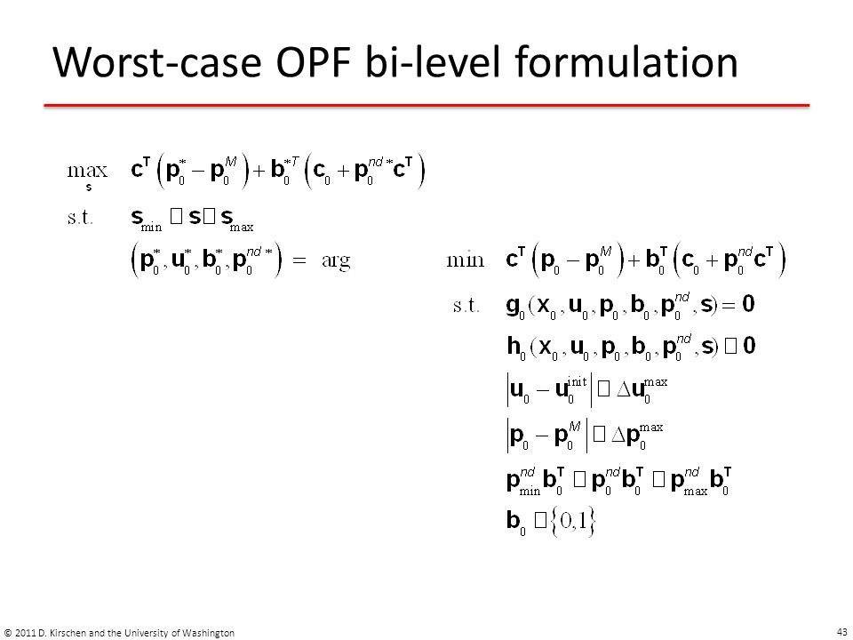 Worst-case OPF bi-level formulation