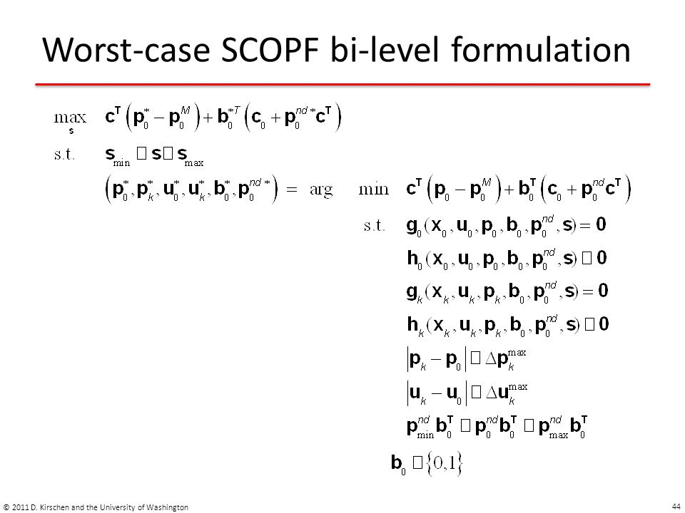 Worst-case SCOPF bi-level formulation