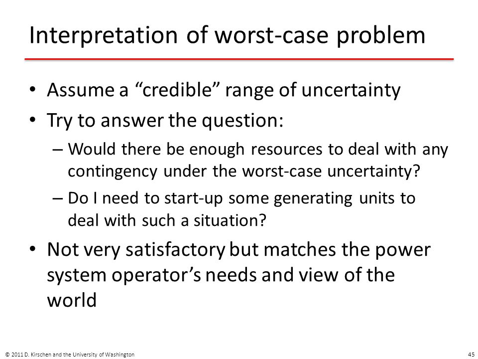 Interpretation of worst-case problem