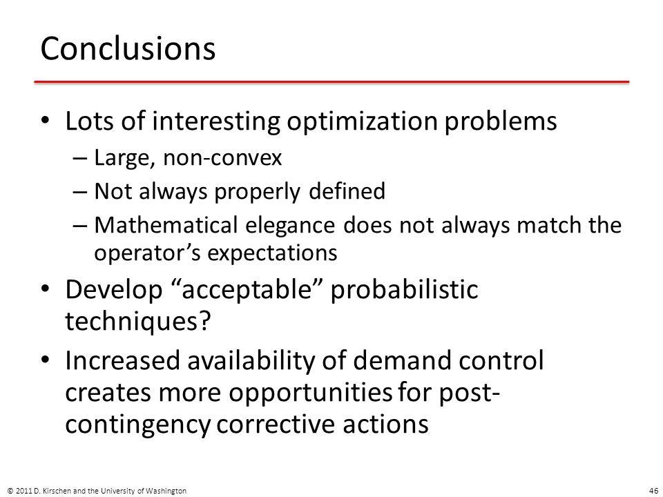 Conclusions Lots of interesting optimization problems