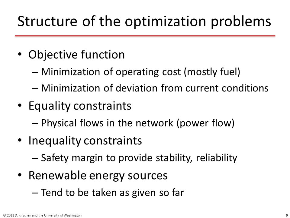 Structure of the optimization problems
