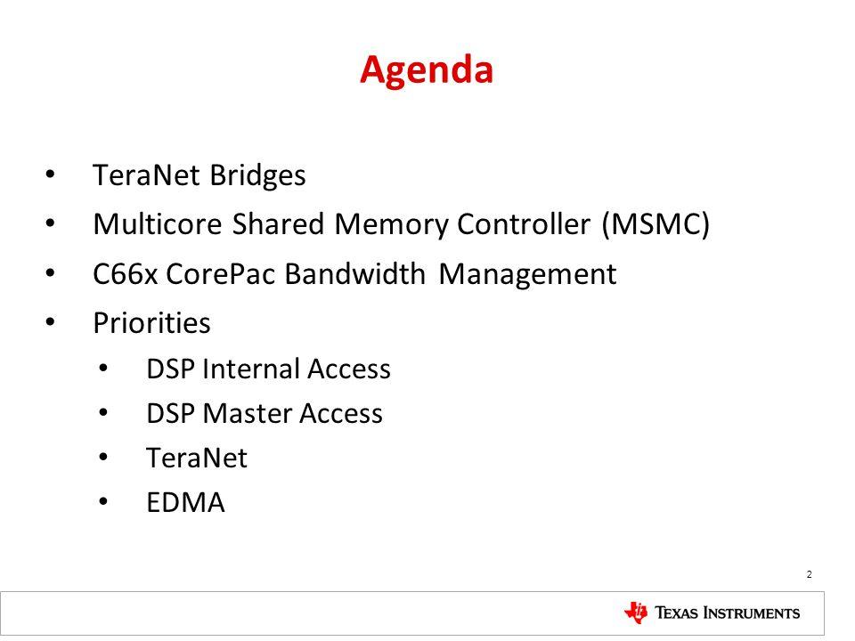 Agenda TeraNet Bridges Multicore Shared Memory Controller (MSMC)