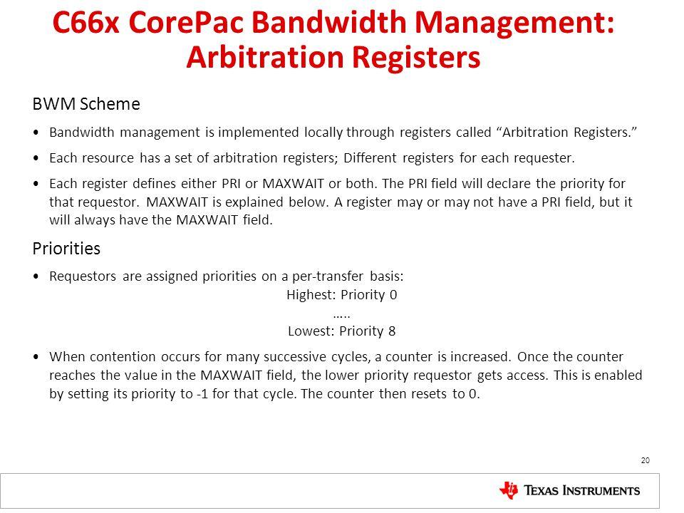 C66x CorePac Bandwidth Management: Arbitration Registers