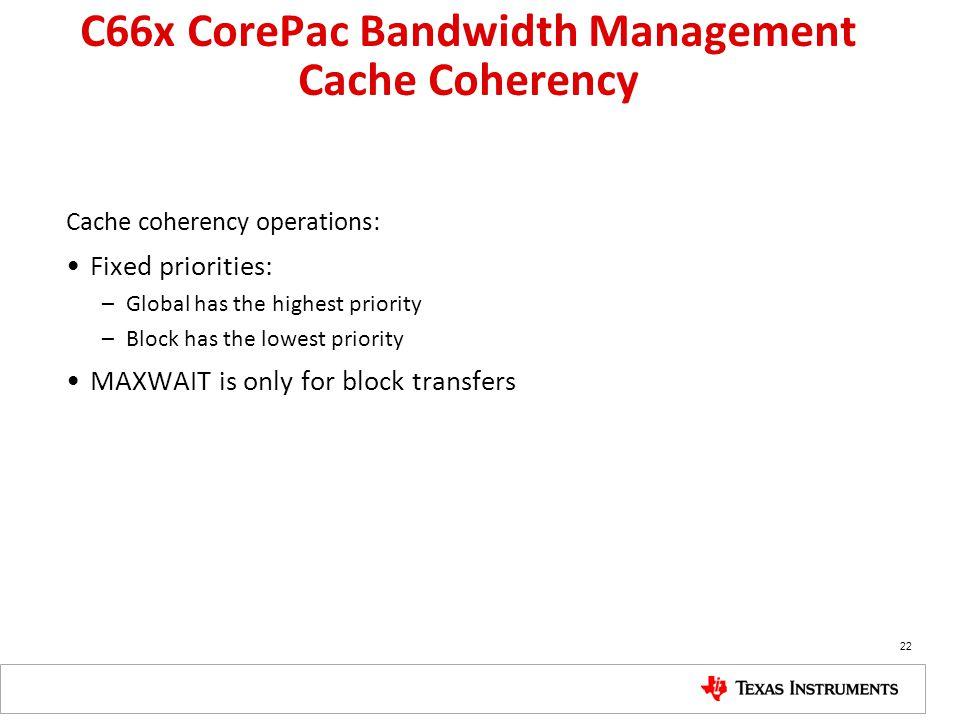 C66x CorePac Bandwidth Management Cache Coherency