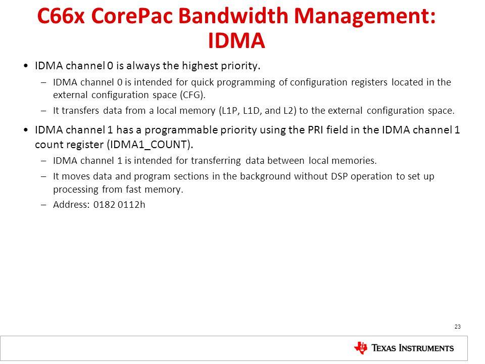 C66x CorePac Bandwidth Management: IDMA