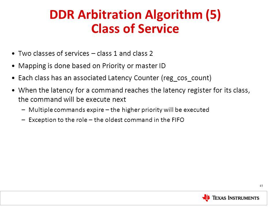 DDR Arbitration Algorithm (5) Class of Service