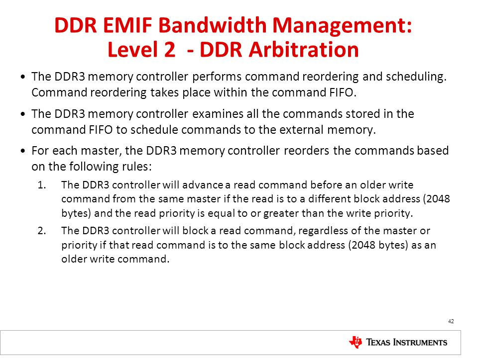 DDR EMIF Bandwidth Management: Level 2 - DDR Arbitration