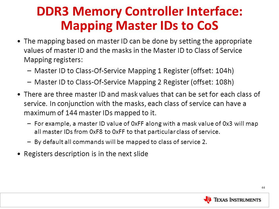 DDR3 Memory Controller Interface: Mapping Master IDs to CoS