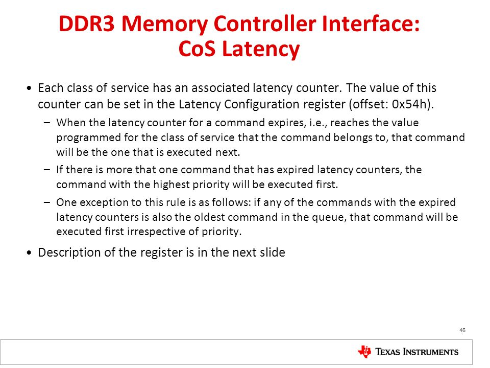 DDR3 Memory Controller Interface: CoS Latency