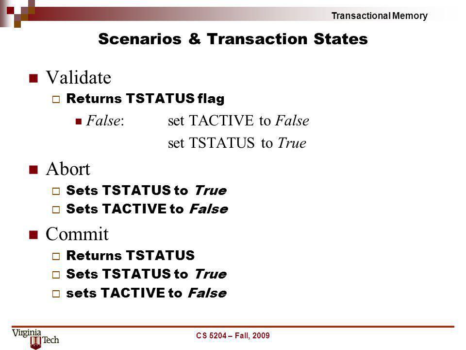 Scenarios & Transaction States