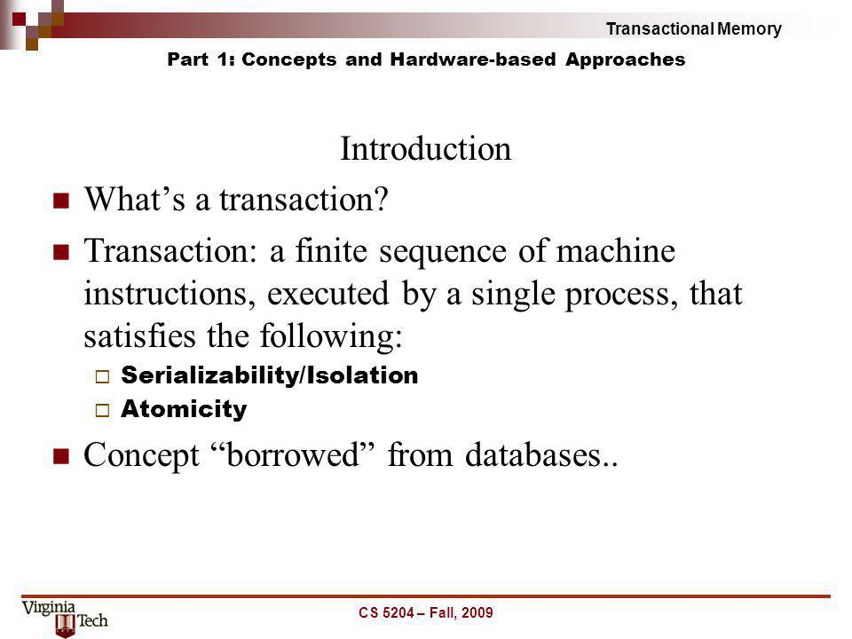 Part 1: Concepts and Hardware-based Approaches