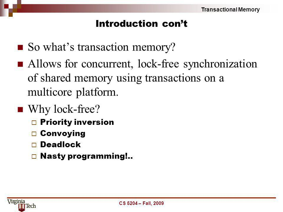 So what's transaction memory