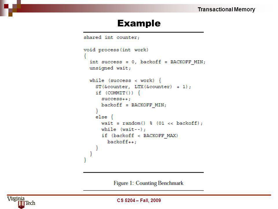 Example CS 5204 – Fall, 2009