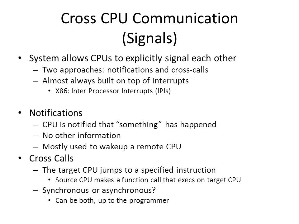 Cross CPU Communication (Signals)