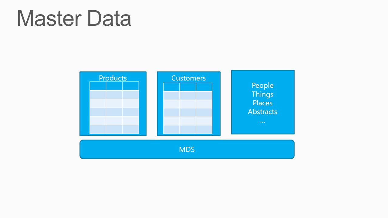 Master Data Products Customers People Things Places Abstracts … MDS