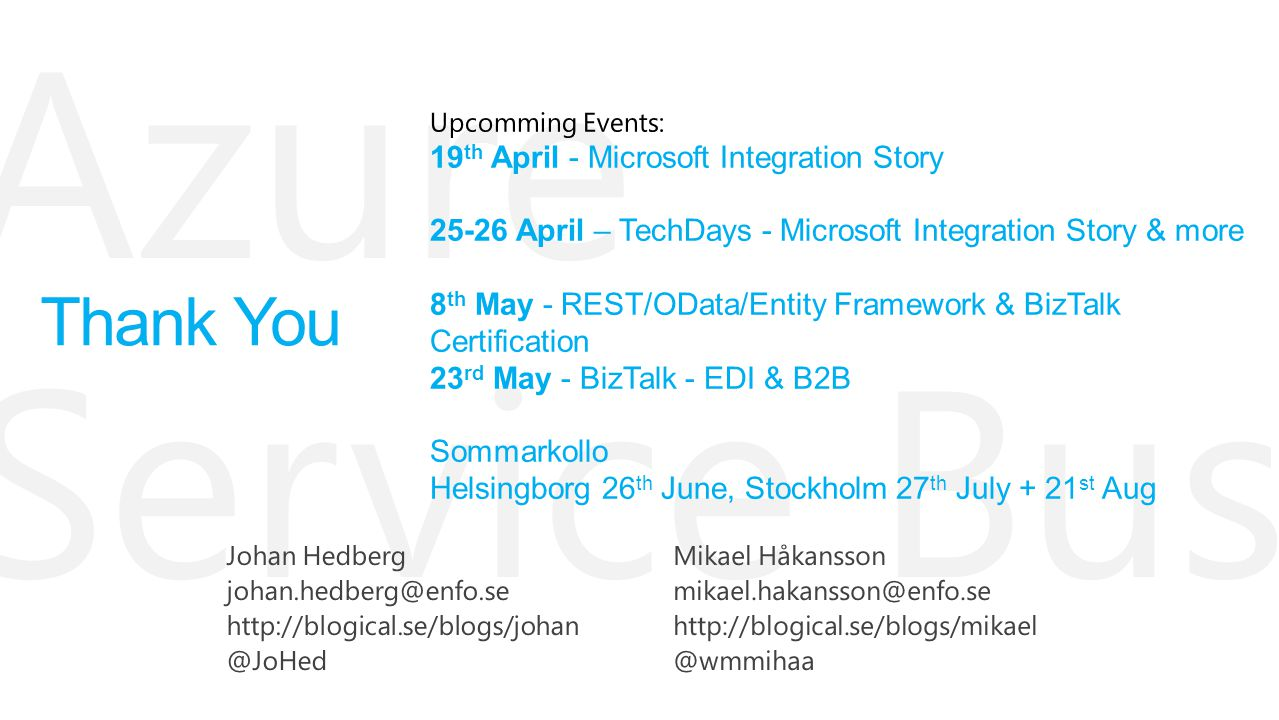 Thank You 19th April - Microsoft Integration Story