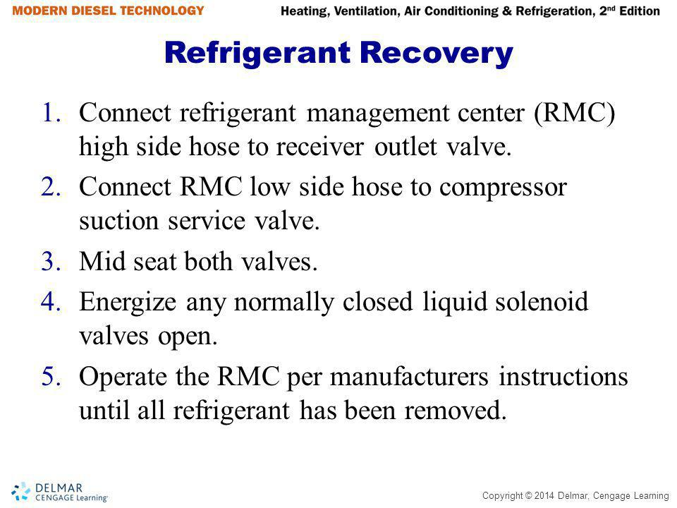 Refrigerant Recovery Connect refrigerant management center (RMC) high side hose to receiver outlet valve.