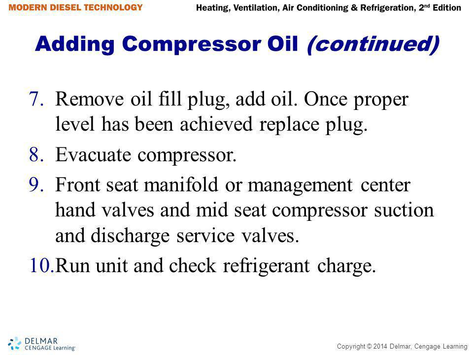 Adding Compressor Oil (continued)