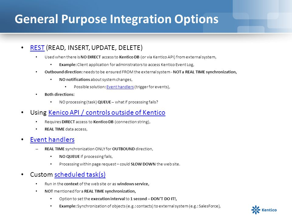 General Purpose Integration Options