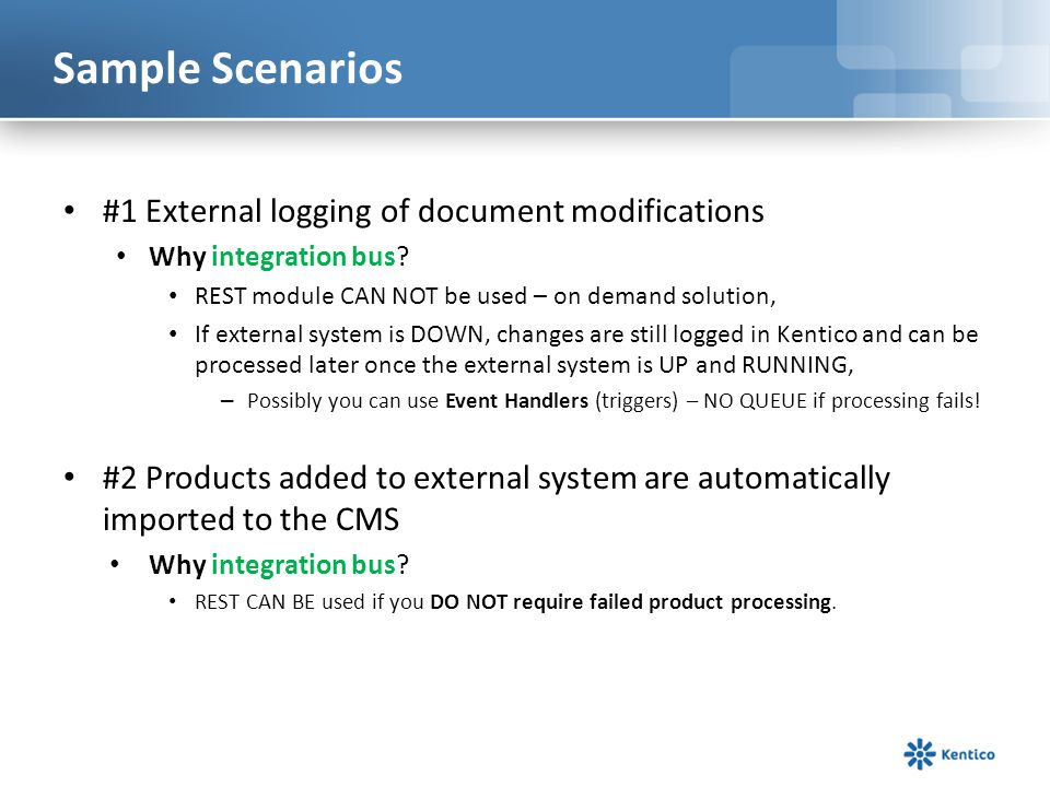 Sample Scenarios #1 External logging of document modifications