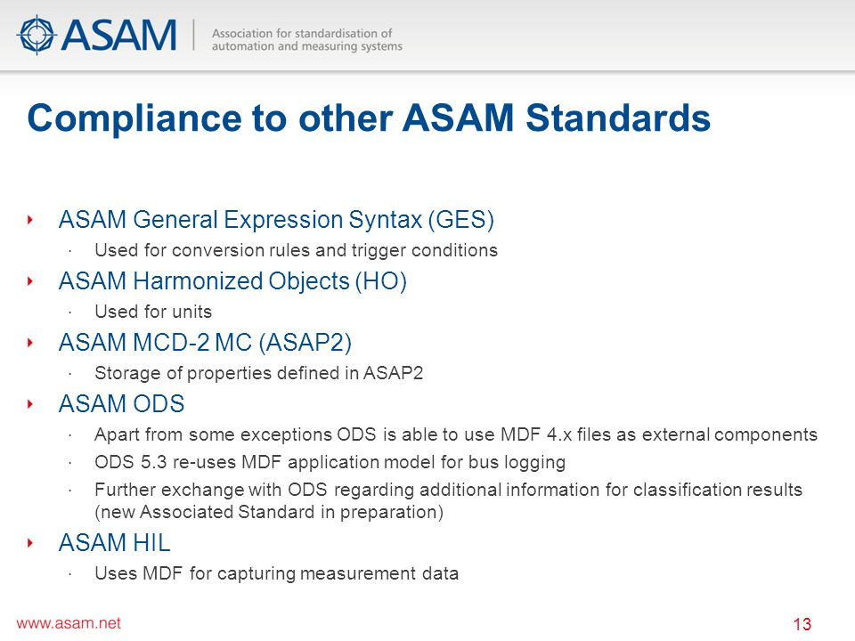 Compliance to other ASAM Standards