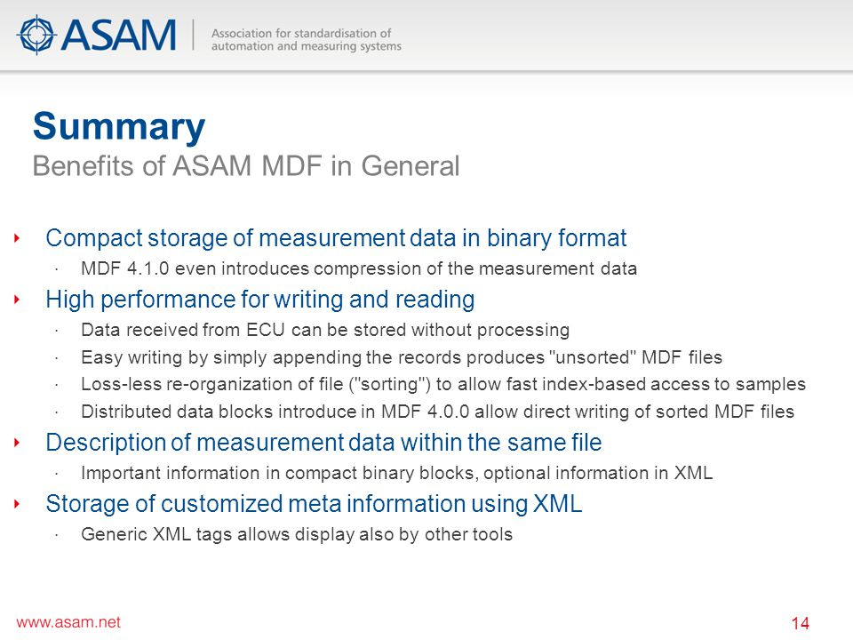 Summary Benefits of ASAM MDF in General