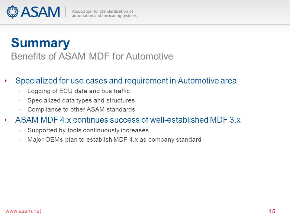 Summary Benefits of ASAM MDF for Automotive