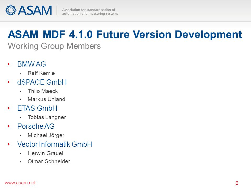 ASAM MDF 4.1.0 Future Version Development Working Group Members