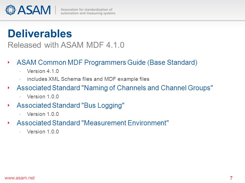 Deliverables Released with ASAM MDF 4.1.0