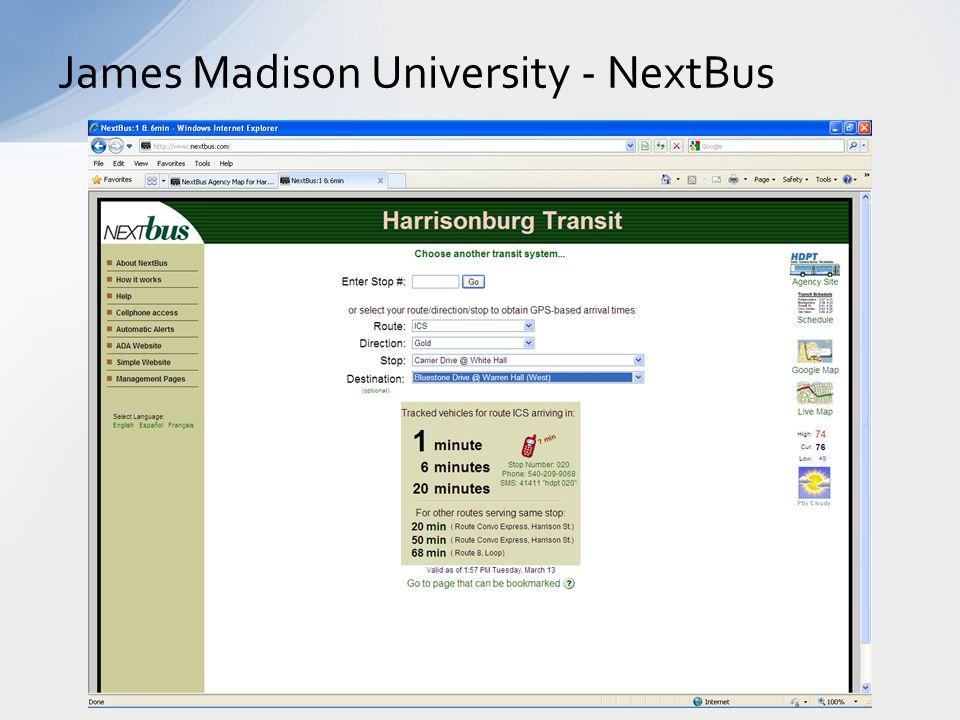 James Madison University - NextBus