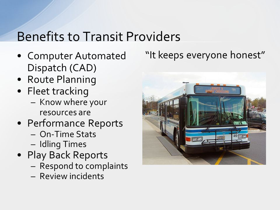 Benefits to Transit Providers