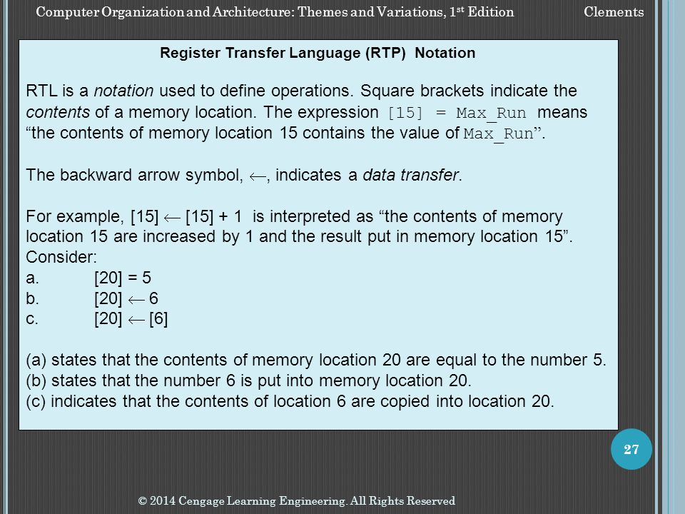 Register Transfer Language (RTP) Notation