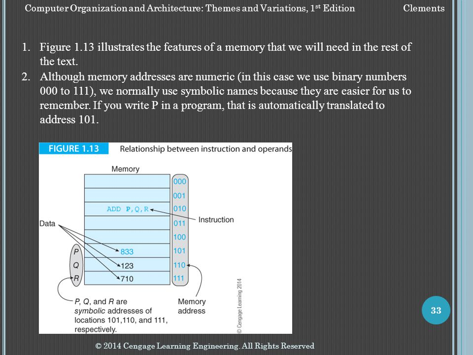 Figure 1.13 illustrates the features of a memory that we will need in the rest of the text.