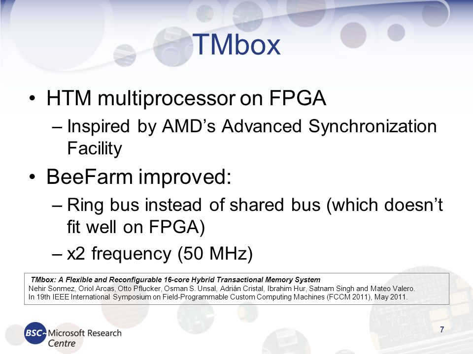 TMbox HTM multiprocessor on FPGA BeeFarm improved: