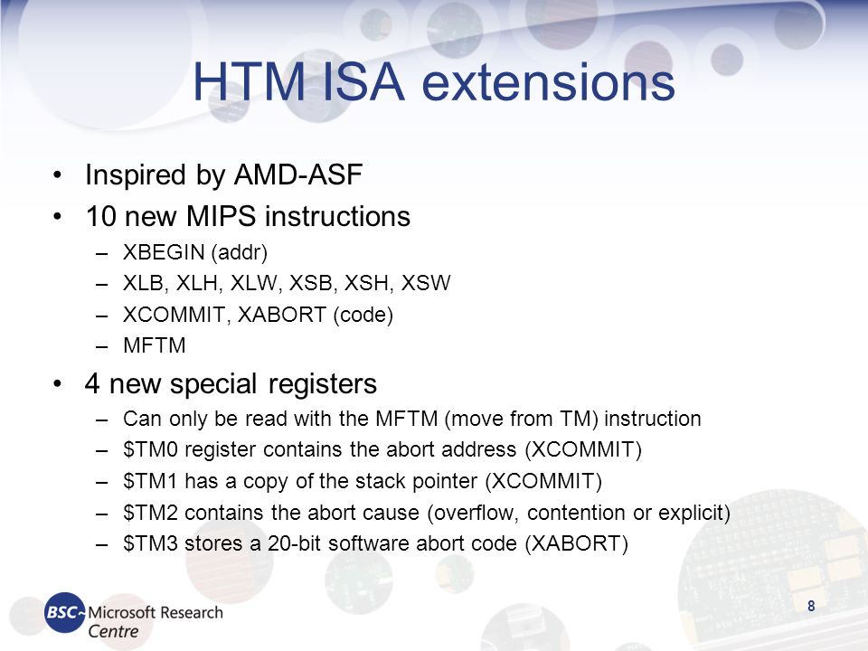 HTM ISA extensions Inspired by AMD-ASF 10 new MIPS instructions