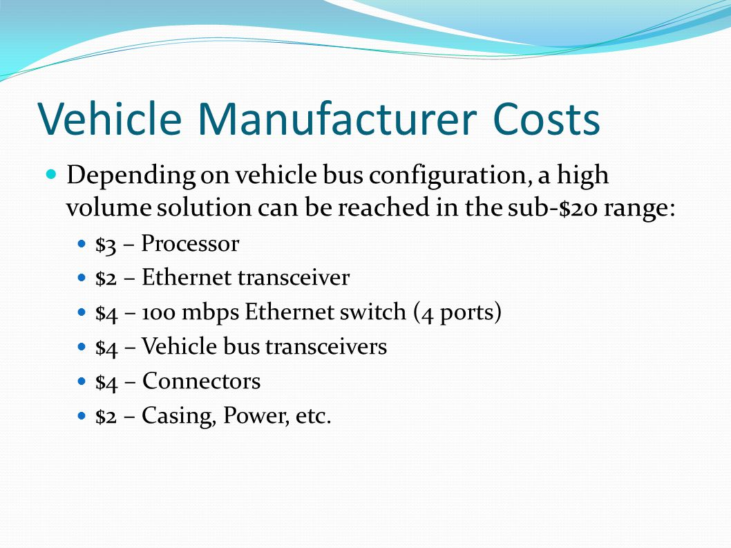 Vehicle Manufacturer Costs