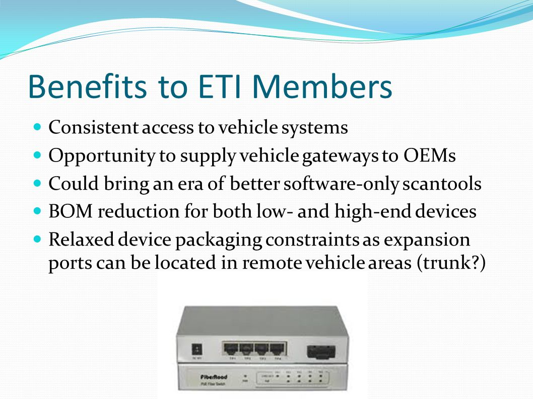 Benefits to ETI Members