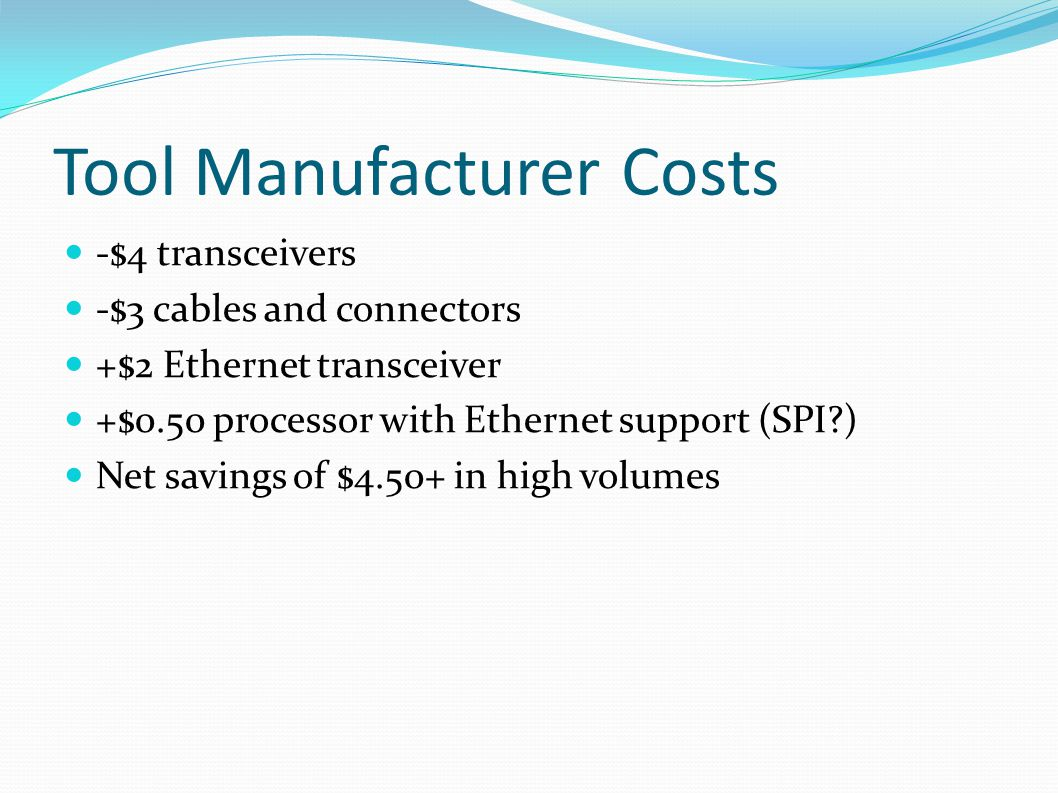 Tool Manufacturer Costs