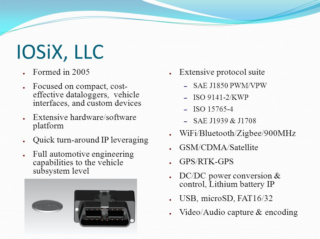 IOSiX, LLC Formed in 2005. Focused on compact, cost- effective dataloggers, vehicle interfaces, and custom devices.