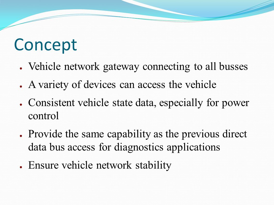 Concept Vehicle network gateway connecting to all busses