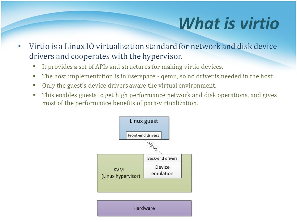 What is virtio Virtio is a Linux IO virtualization standard for network and disk device drivers and cooperates with the hypervisor.