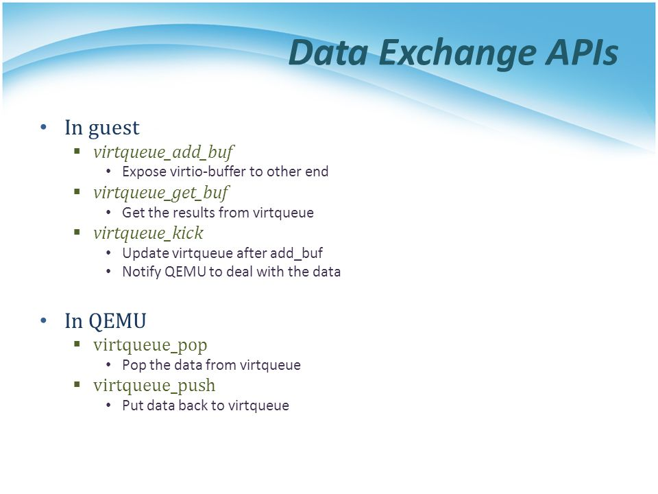 Data Exchange APIs In guest In QEMU virtqueue_add_buf