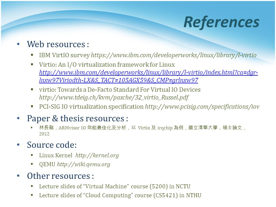 References Web resources : Paper & thesis resources : Source code: