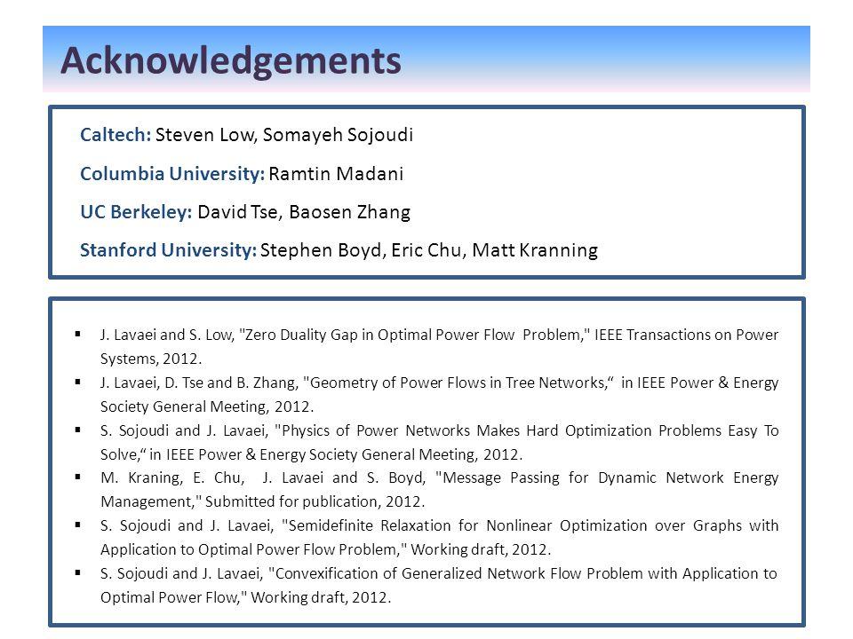 Acknowledgements Caltech: Steven Low, Somayeh Sojoudi