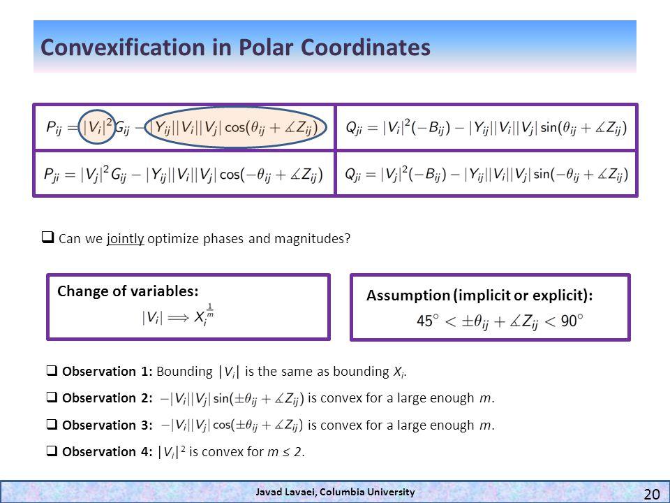 Convexification in Polar Coordinates