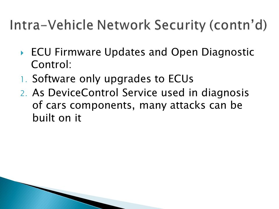 Intra-Vehicle Network Security (contn'd)